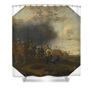 Soldiers Outside A Tented Camp Shower Curtain
