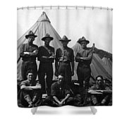 Soldiers Posing In Front Tents 19171918 Black Shower Curtain
