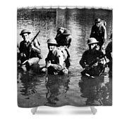 Soldiers Rifles Walking Through Water 1943 Black Shower Curtain