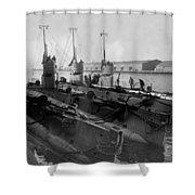 Submarines In Harbor Circa 1918 Black White Shower Curtain