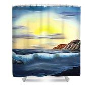 Sunset Beach Pastel Splash Dreamy Mirage Shower Curtain