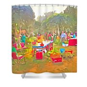 Tables And Chairs At An Exhibition Shower Curtain