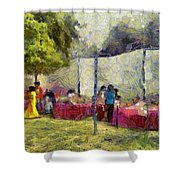 Tables At An Exhibition Shower Curtain
