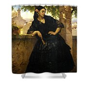 The Spanish Beauty With A Fan Shower Curtain
