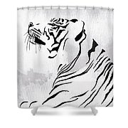 Tiger Animal Decorative Black And White Poster 3 - By Diana Van Shower Curtain