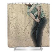 Tiger Woods Hits From A Access Road Shower Curtain