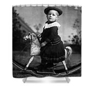 Toddler Rocking Horse 1890s Black White Archive Shower Curtain