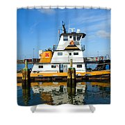 Tug Indian River Is Part Of The Scene At Port Canvaeral Florida Shower Curtain