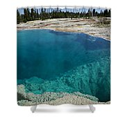 Turquoise Hot Springs Yellowstone Shower Curtain