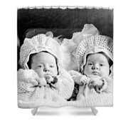 Twins In Baby Buggy 1910s Black White Archive Shower Curtain