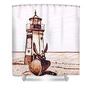 Vermilion Lighthouse Shower Curtain