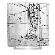 Vertically Standing Bird's Winged Flying Machine Shower Curtain