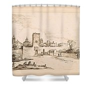 View Of A Walled Town Shower Curtain