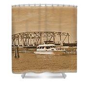 Vintage Swing Bridge In Sepia 2 Shower Curtain