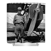 W Soldier Standing Biplane July 1923 Black White Shower Curtain