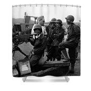 Wacs Learning Fire Machine Gun Circa 1943 Black Shower Curtain
