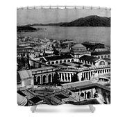 Worlds Fair San Francisco 1915 Black White 1910s Shower Curtain