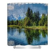 Wyoming Tetons Spruce Mountain Lake. Oil Painting . Shower Curtain