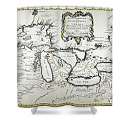 Great Lakes Map, 1755 Shower Curtain