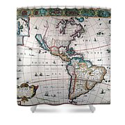 New World Map, 1616 Shower Curtain