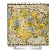 United States Map, 1866 Shower Curtain