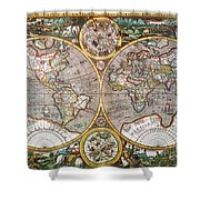 World Map, 1607 Shower Curtain