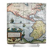New World Map, 1570 Shower Curtain