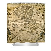 W. Hemisphere Map, 1596 Shower Curtain