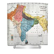 India: Map, 19th Century Shower Curtain