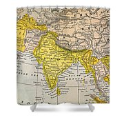 Asia Map, 19th Century Shower Curtain