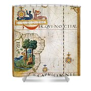 Brazil: Map And Native Indians Shower Curtain
