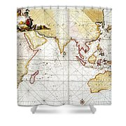 Indian Ocean: Map, 1705 Shower Curtain