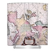 Map: European Coasts, 1715 Shower Curtain