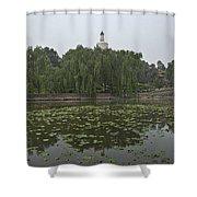 0043-2-white Dagoba Shower Curtain