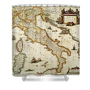 Map Of Italy, 1631 Shower Curtain