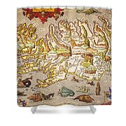 Iceland: Map, 1595 Shower Curtain