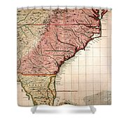 Colonial America Map, 1733 Shower Curtain