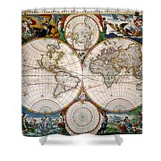 World Map, 17th Century Shower Curtain