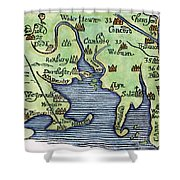 New England Map 1677 Shower Curtain