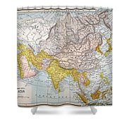 Asia Map Late 19th Century Shower Curtain