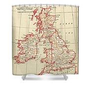 Map: British Isles, C1890 Shower Curtain
