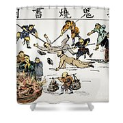 China: Anti-west Cartoon Shower Curtain