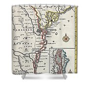 Map: North America, C1700 Shower Curtain