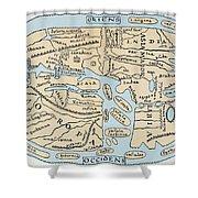 World Map 2nd Century Shower Curtain