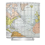 Map: Atlantic Voyages Shower Curtain
