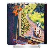 01349 The Cat And The Fiddle Shower Curtain