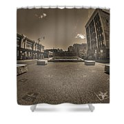 02 Plaza Of Stars Sepia Tone  Shower Curtain