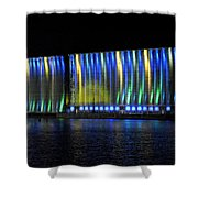 06 Grain Elevators Light Show 2015 Shower Curtain