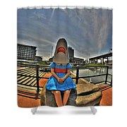 07 Shark Girl Shower Curtain