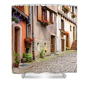 Half-timbered House Of Eguisheim, Alsace, France Shower Curtain